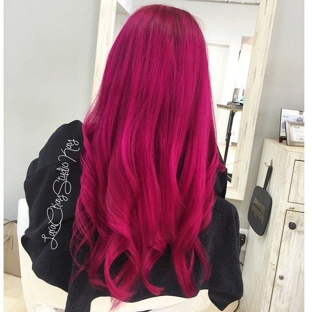 Dark Pink Magenta Hair Colour Hairstyle Style Larackay Magenta Hair Magenta Hair Colors Dark Pink Hair