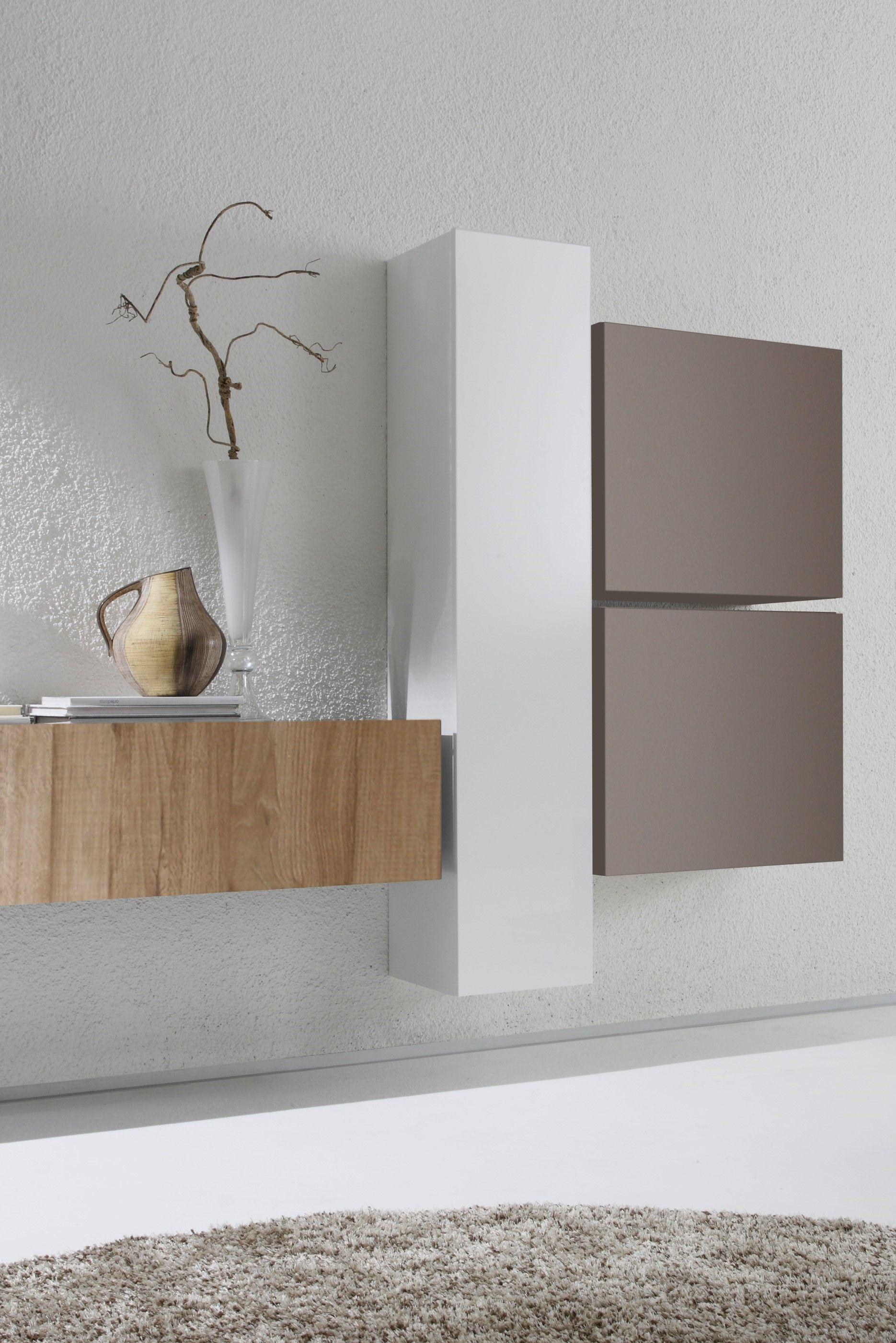 Livingroom Modern Weiss Eiche Wohnzimmerschranke Schrankwand