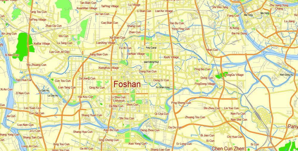 Printable Map Guangzhou China Vector Street Gview Level - Guangzhou map