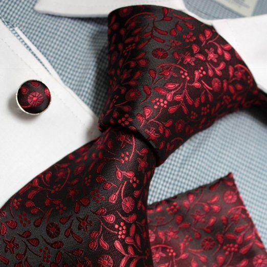 PH1087 Black Red Paisley Silk Neckie Handky Cufflinks Set mens style Epoint