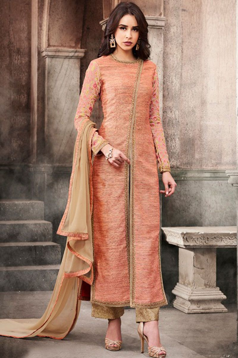 cf09ef439 Gorgeous Peach Color Traditional Party Wear Slub Silk Fabric Embroidered Fancy  Style Bollywood Designer Bridal Wear Straight Suit #nakkashi ...