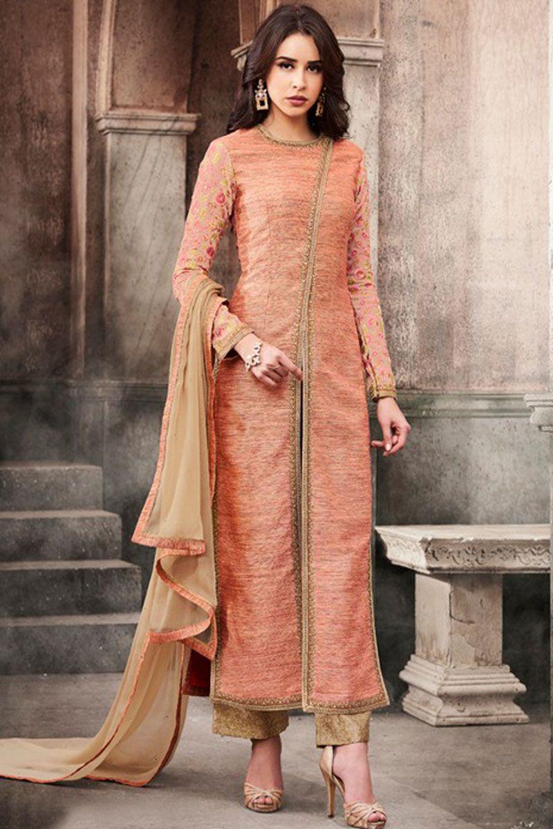 Gorgeous peach color traditional party wear slub silk fabric