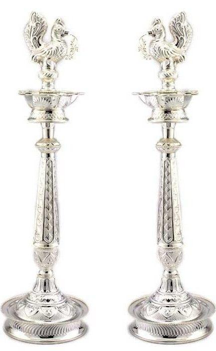 Silver Oil Lamos Metal Brass Silver Silver Lamp