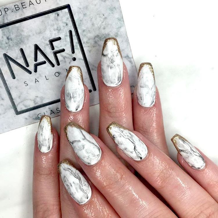 Marble nails are everything and these gold tips make them even ...