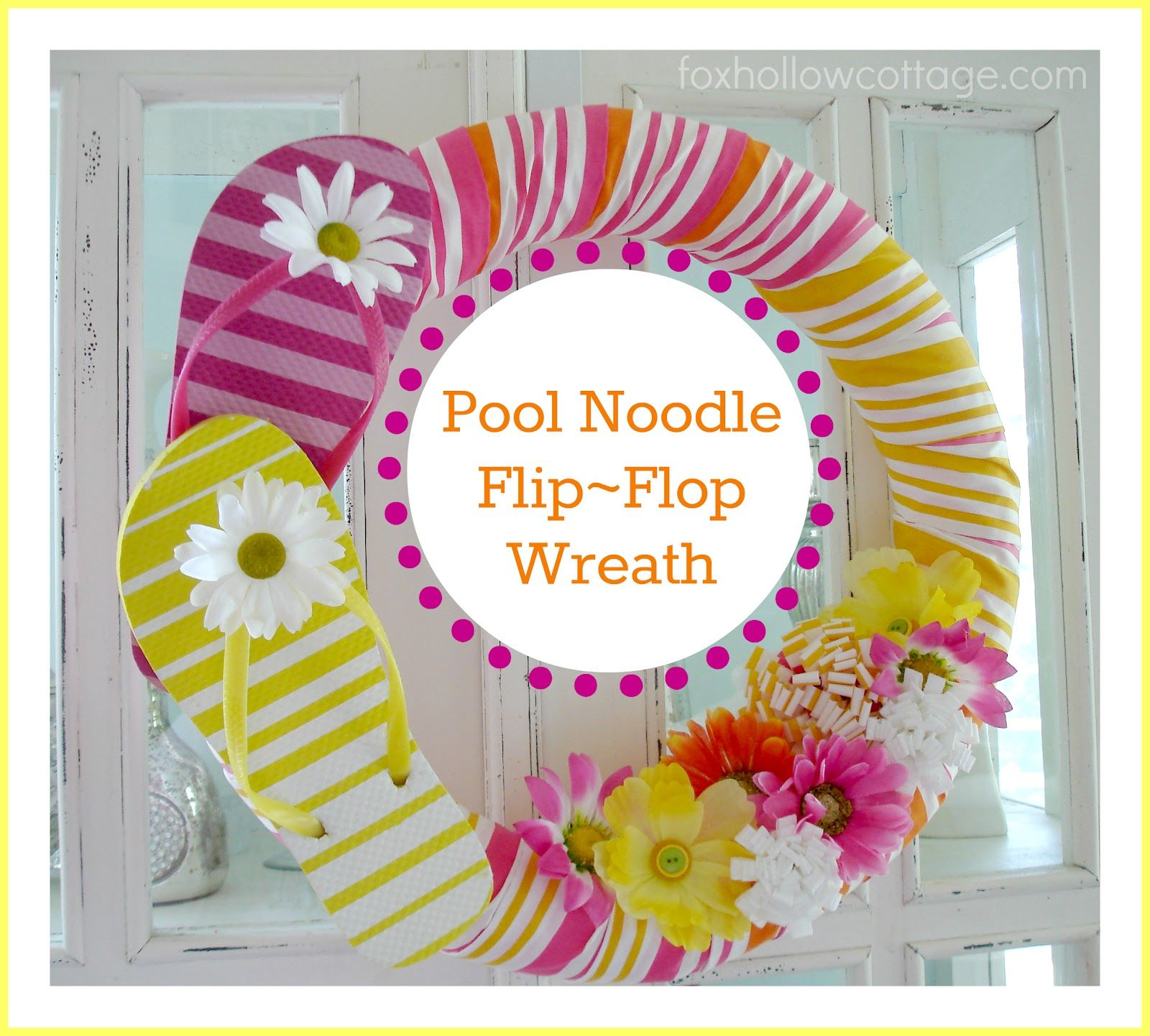 Flip Flop Summer Pool Noodle Wreath Tutorial #poolnoodlewreath
