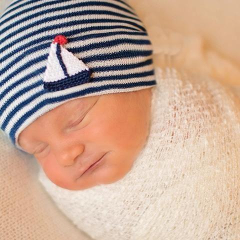 e71f49cfc48 Navy and White Striped Crochet Sailboat Newborn Boy Hospital Hat ...