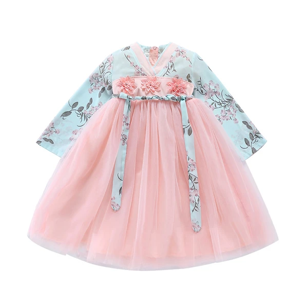 Girls Princess dress Hanfu Autumn Winter 2019 New Chinese Style Retro Children Clothing2 8 10Year Baby girl Princess Party Dress