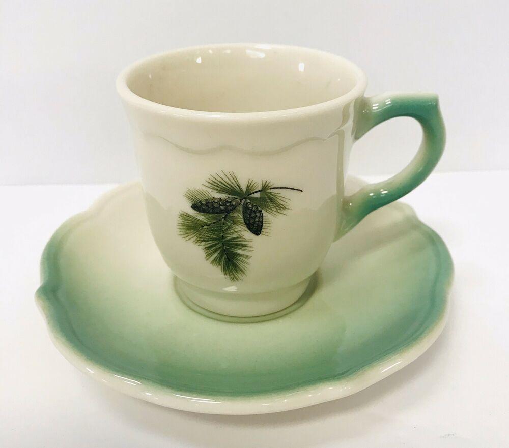 SYRACUSE Pinecone Demitasse Cup Saucer Set Airbrush