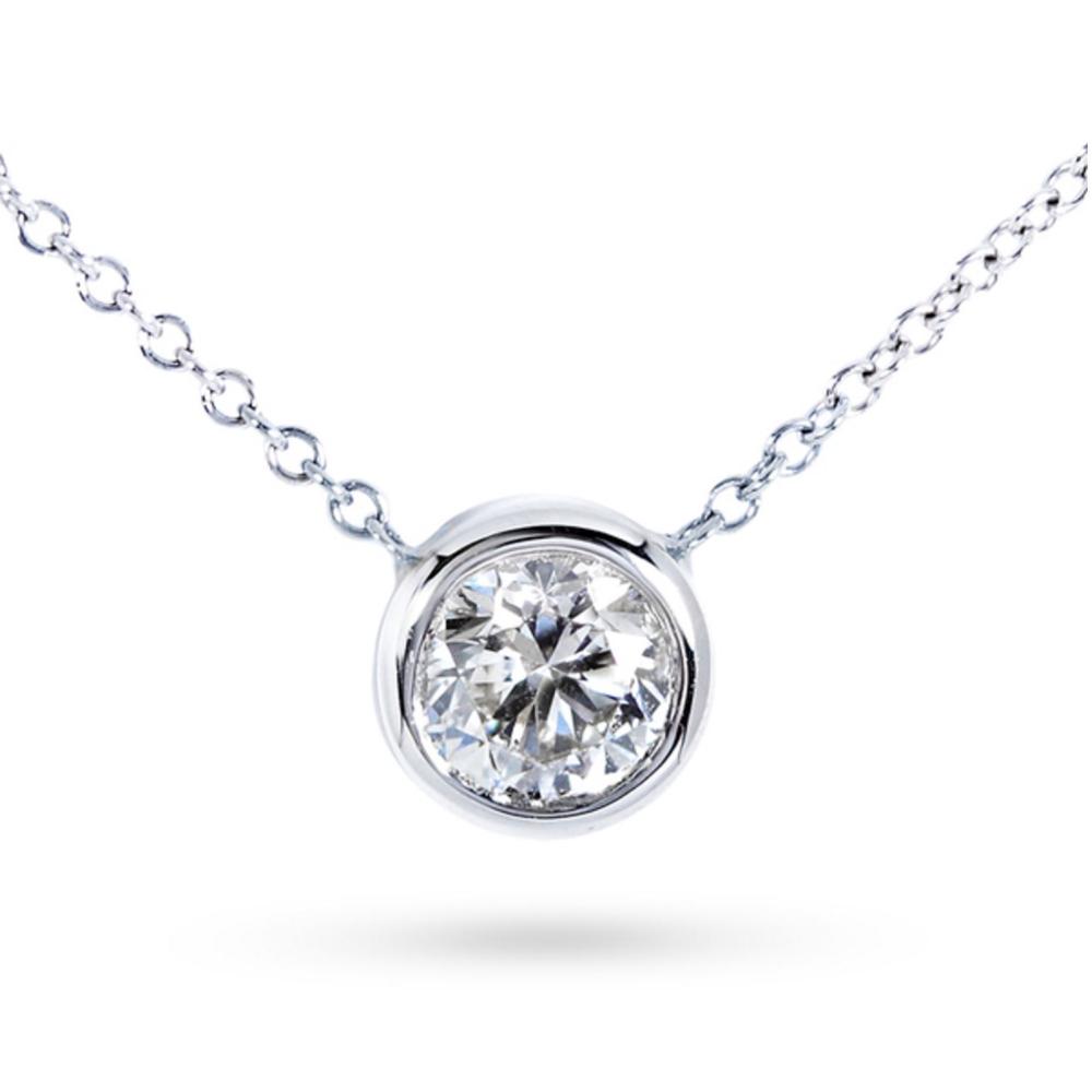 K White Gold ct TDW BezelSet Diamond Solitaire Pendant