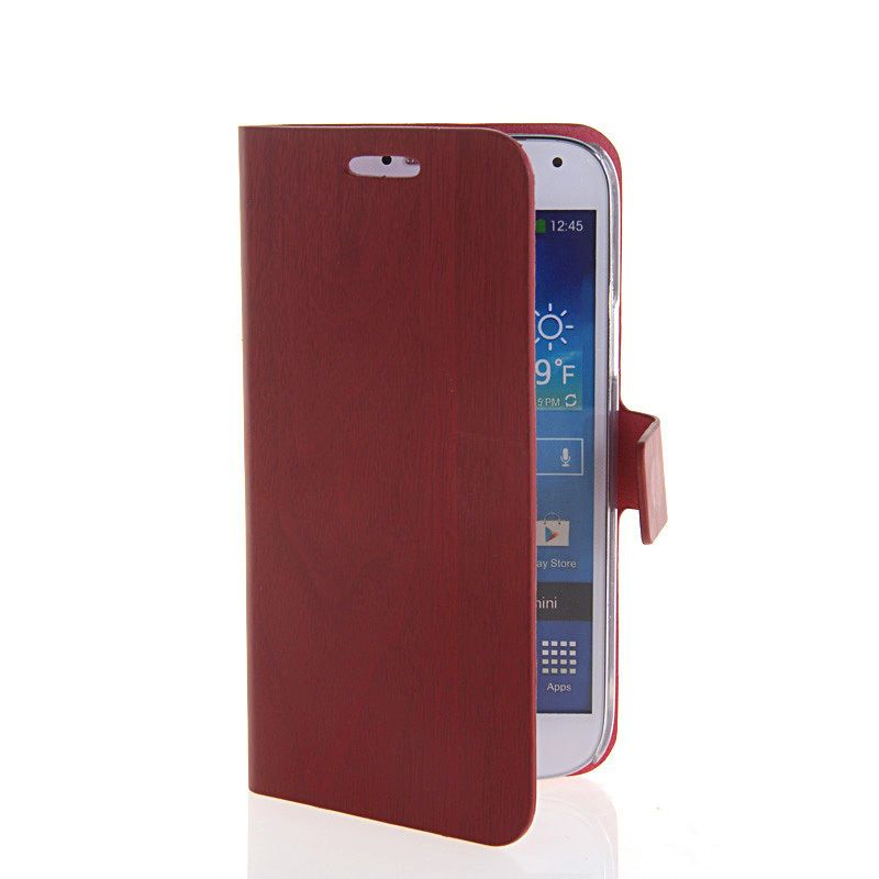 ULTRA THIN LEATHER WALLET STAND CASE COVER FOR SAMSUNG GALAXY S4 MINI I9190 RED