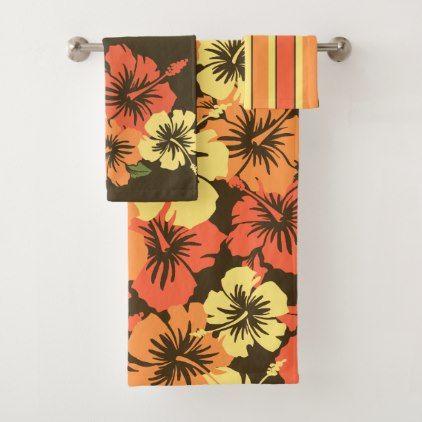 Epic Hibiscus Hawaiian Floral Coordinates Orange Bath Towel Set