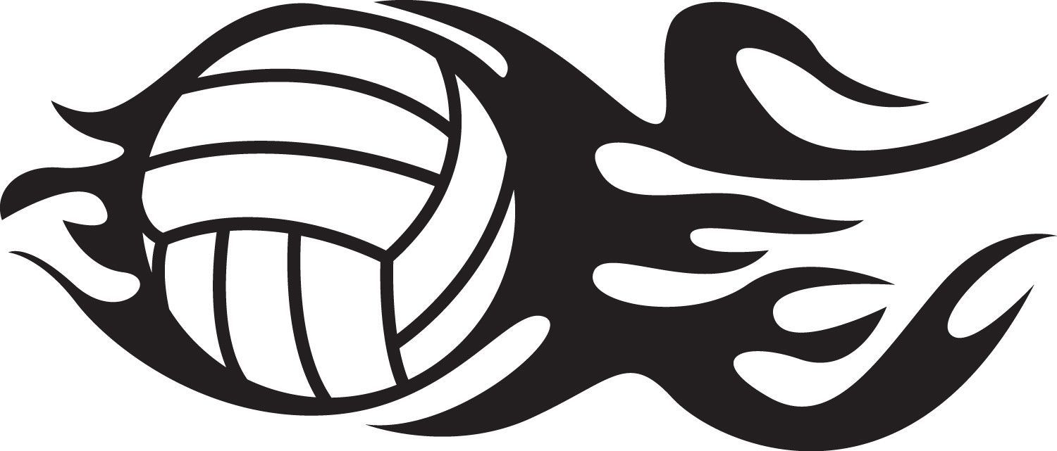 Flaming Volleyball Vinyl Decal Sizes Available Small 6 Tall X 2 5 Wide Medium 8 Tall X 3 4 Wide Large 10 Tall X 4 2 Wide Colors Available Ma