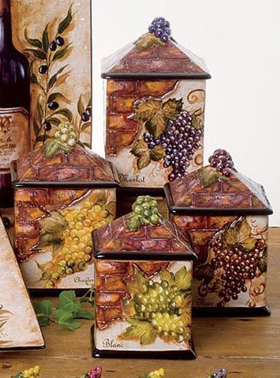 wine theme small dishes | Wine Cellar Dinnerware - Canister