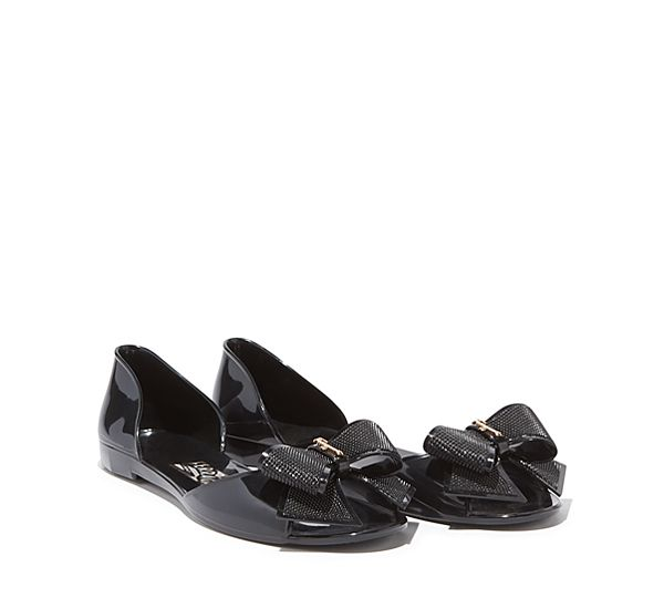 Ferragamo Barbados Jelly flat with peep-toe and bow model code 033712 495162