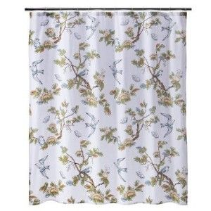 New Target Threshold Home Blue Bird Shower Curtain Bath Towel 2 Hand Towels