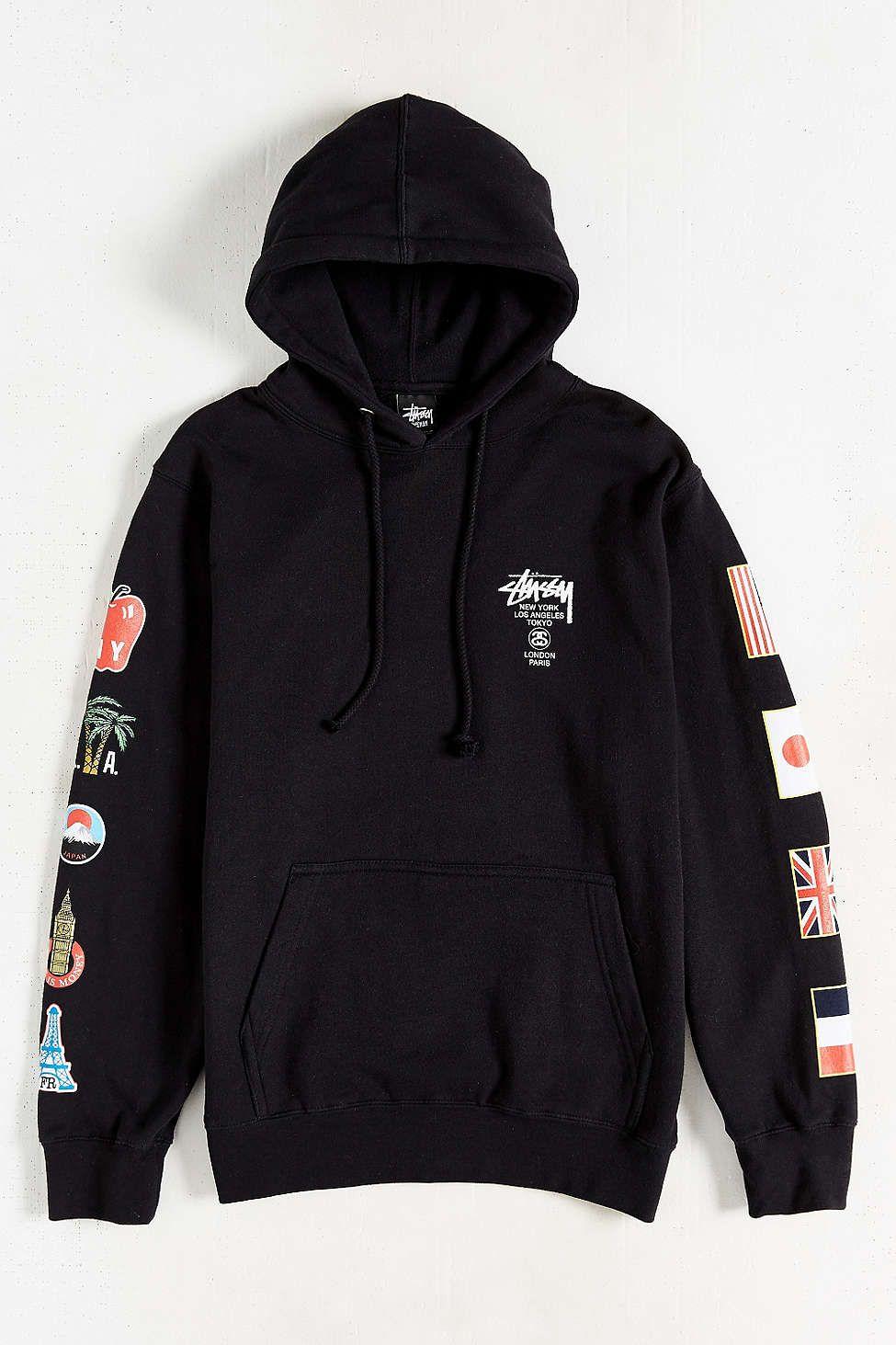 2fb2721c4607 Stussy World Tour Flags Pullover Hoodie Sweatshirt
