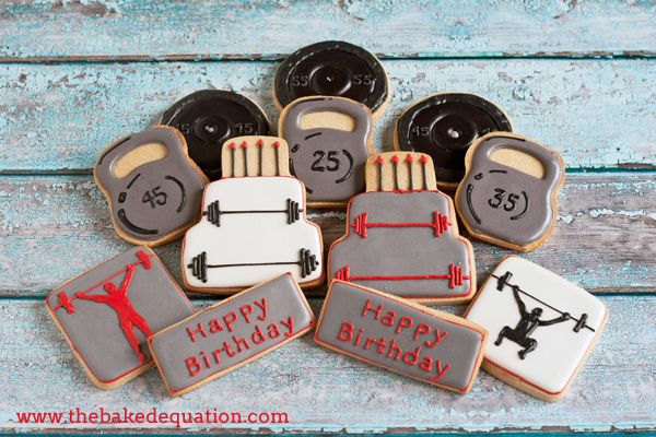 Sports Themed Cookies  The Baked Equation #crossfit #kettlebells #decoratedcookies