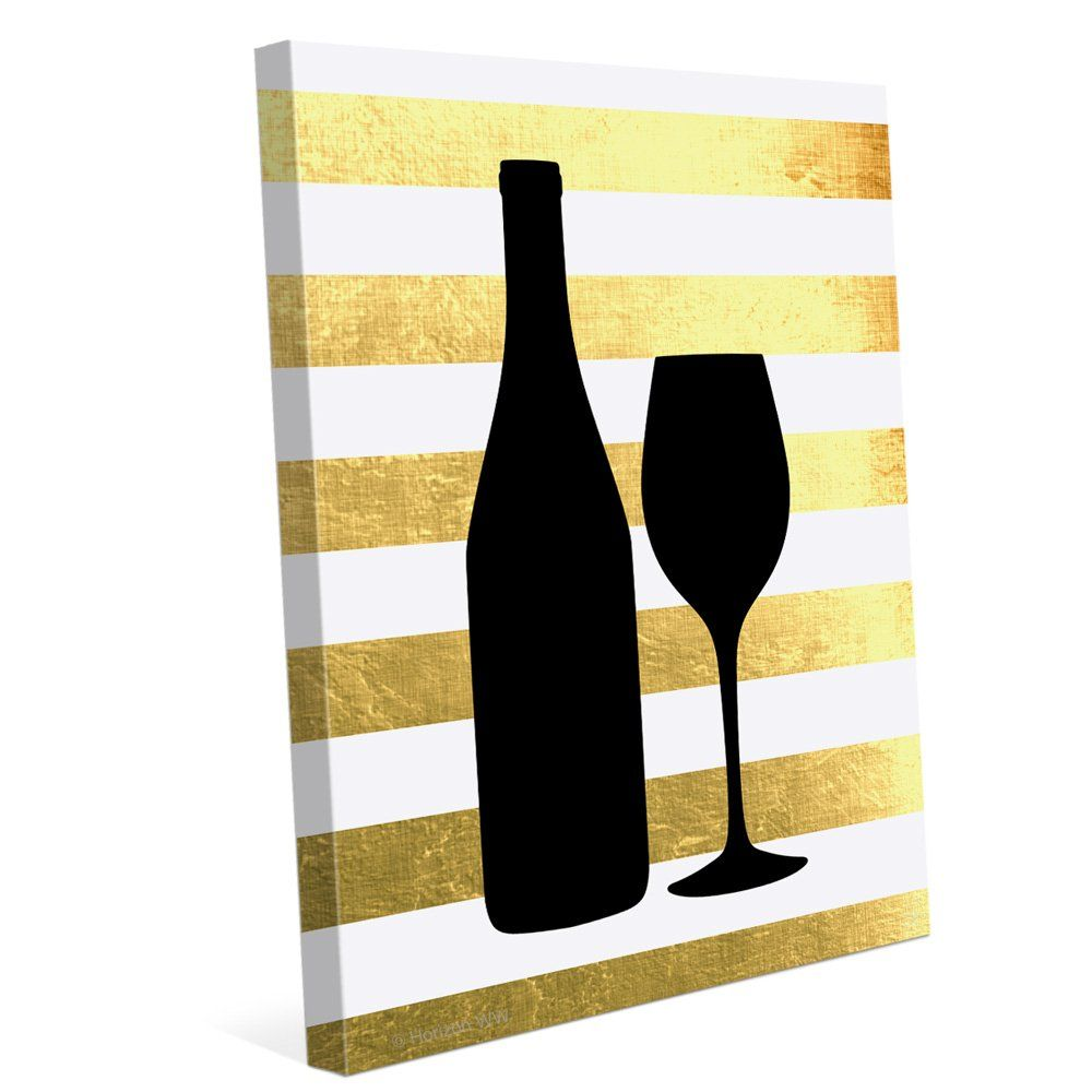 Shiny Gold And White Stripped Black Wine Bottle And Glass Silhouette ...