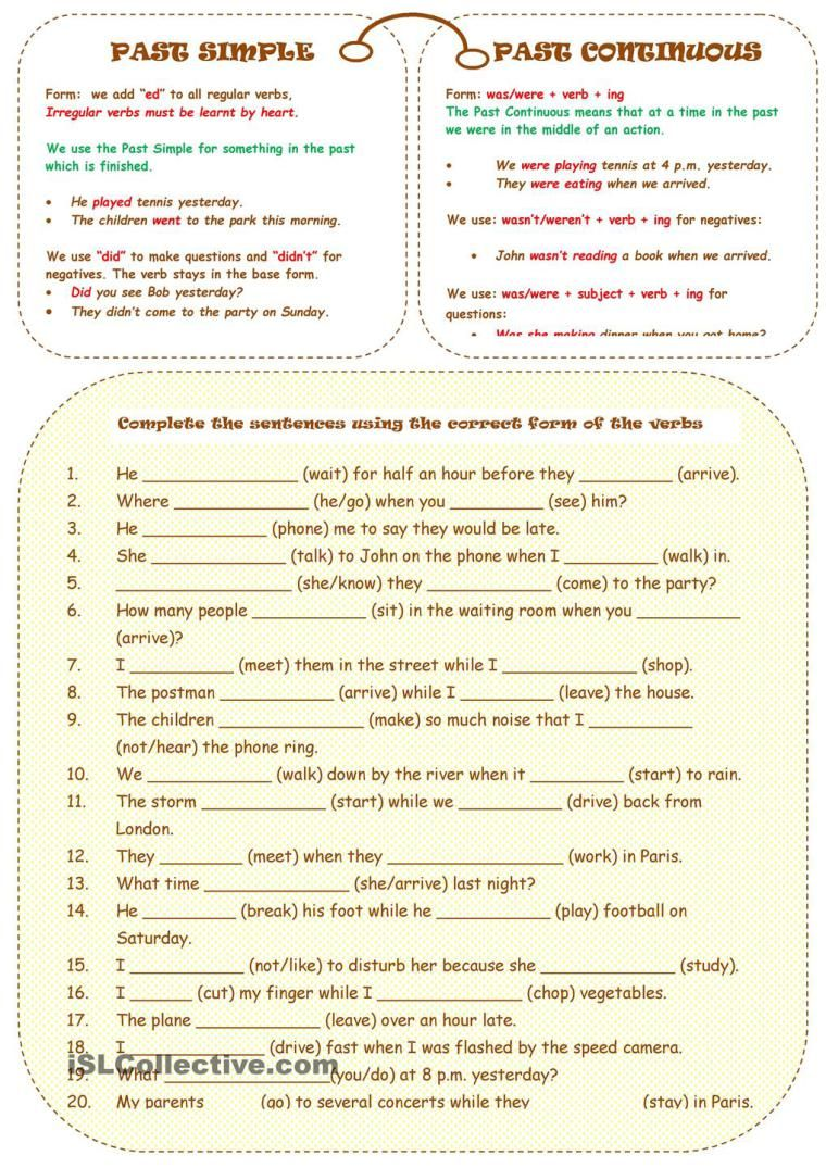 worksheet Ing Form Of Verb Worksheets worksheet on past simple vs continuous english grammar pinterest continuous