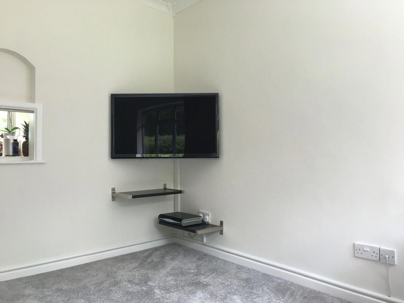 Corner Tv Mount And Floating Shelves Quite Pleased With The Final