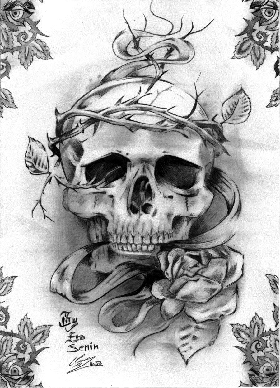 tattoos stencils | Skull tattoo by ero ermite on deviantart | Tattoo Designs    http://pinterest.com/treypeezy  http://twitter.com/TreyPeezy  http://instagram.com/OceanviewBLVD  http://OceanviewBLVD.com