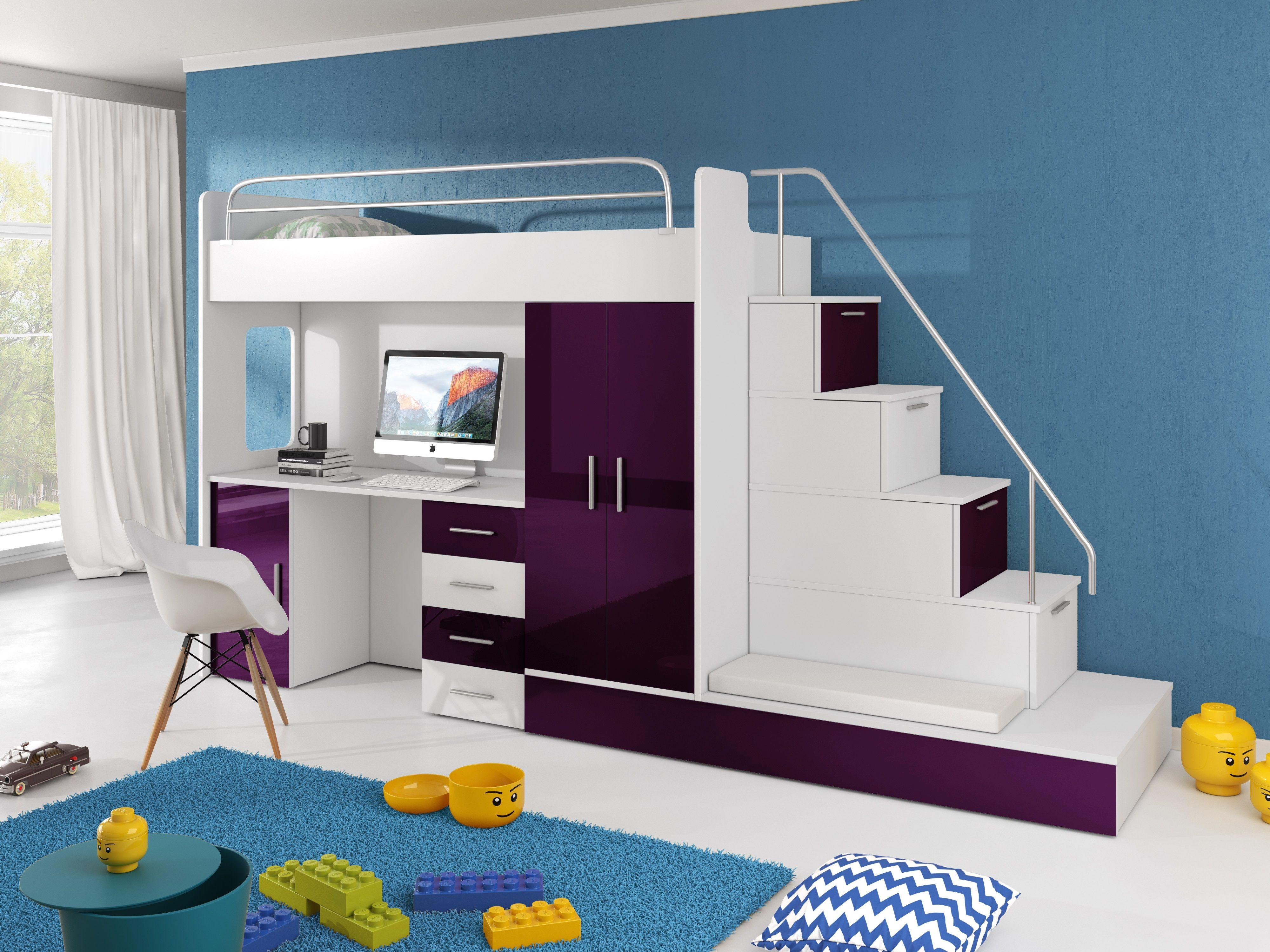 Kinderhochbett Sun Kinder Hochbett Mit Schreibtisch Schrank Und