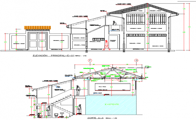 Elevation and Section house plan detail dwg file, with dimension