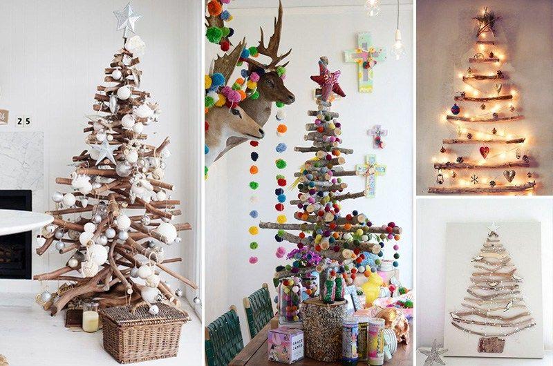 Alberi Di Natale In Legno Addobbati : Alberi di natale con bastoncini in legno noel