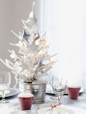 6 Ways To Decorate With Mini Christmas Trees White Christmas Tree Decorations Christmas Table Decorations Christmas Centerpieces