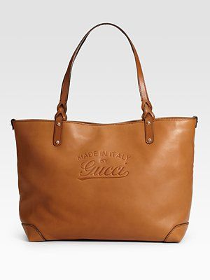 b6d84f6c8 Gucci Gucci Craft Medium Tote Be The First to Write a Review Leather tote  with embossed vintage Gucci trademark, detachable pocket, and light  goldtone ...