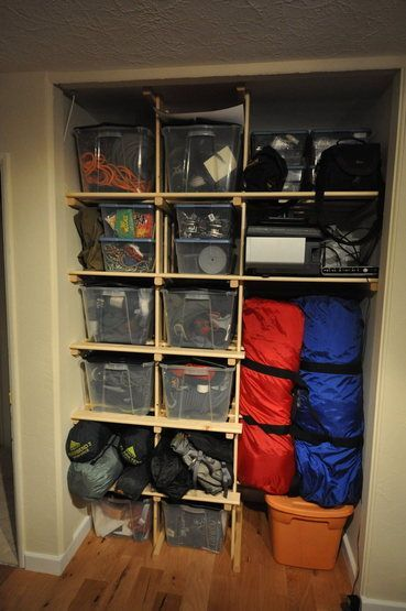 Photo of This closet in the basement next to the stairs would be a perfect device closet.