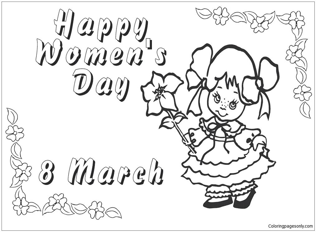 8th March Womens Day Coloring Page