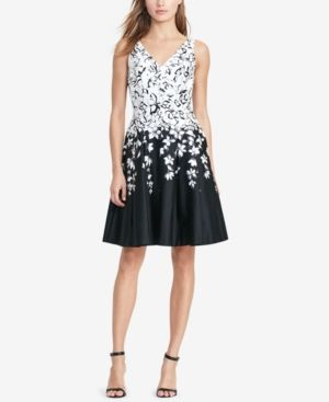 43de3cf1c266 Lauren Ralph Lauren Floral-Print V-Neck Dress - Black/White 14 ...