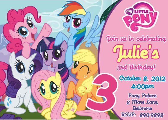 CUSTOM PHOTO Invitations My Little Pony Birthday Invitation