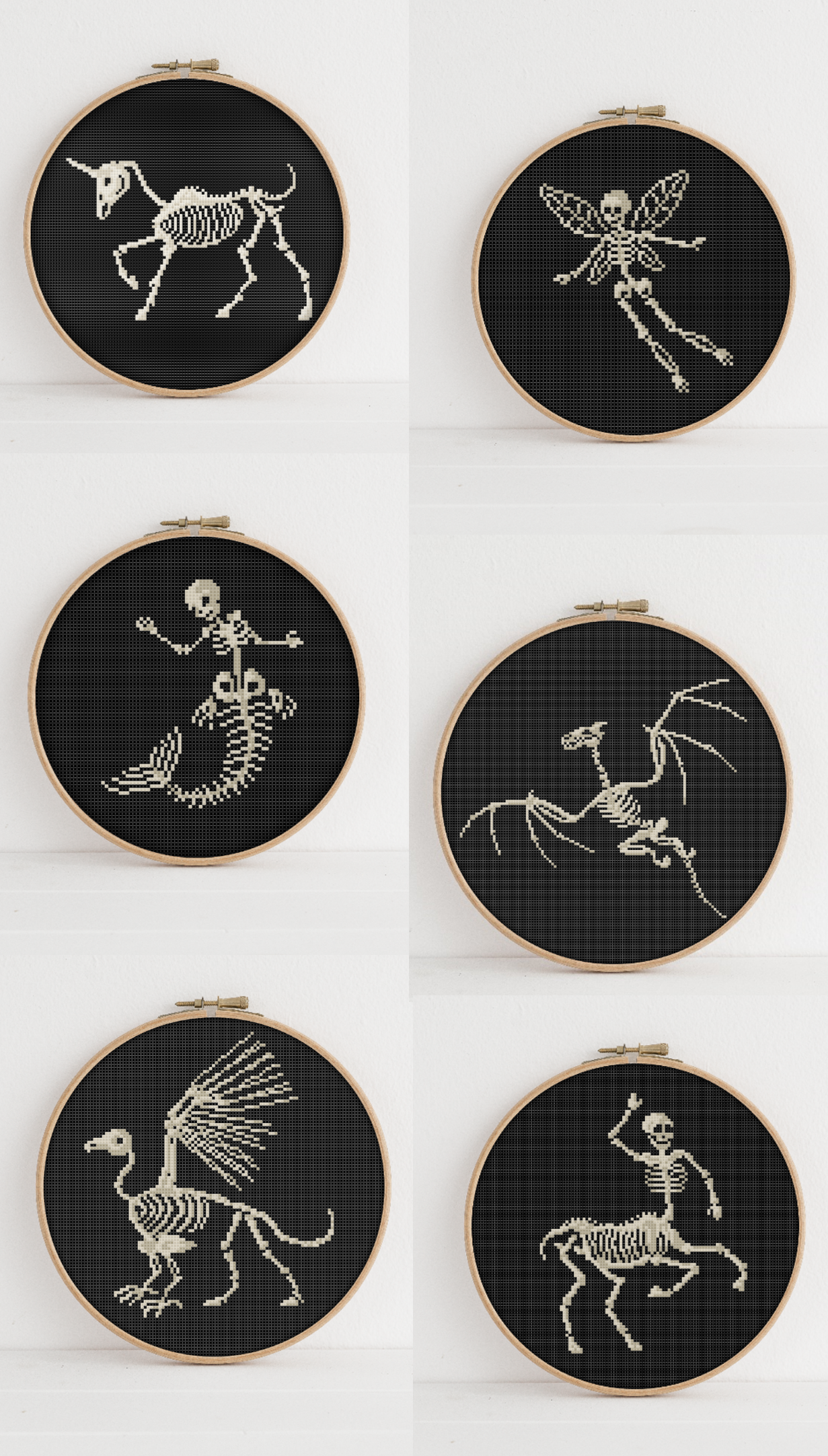 Photo of Unicorn, Fairy, Mermaid, Dragon, Griffin and Centaur Skeleton Cross Stitch Patte…
