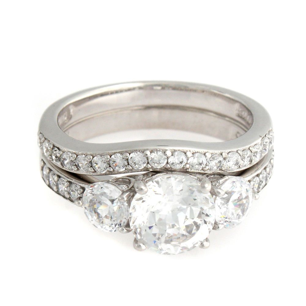 Epiphany Sterling Silver Diamonique 100 Facet 2 Pc Set Ring Size 8 M990 Epiphany Bridalset Ring Size Engagement Rings Rings