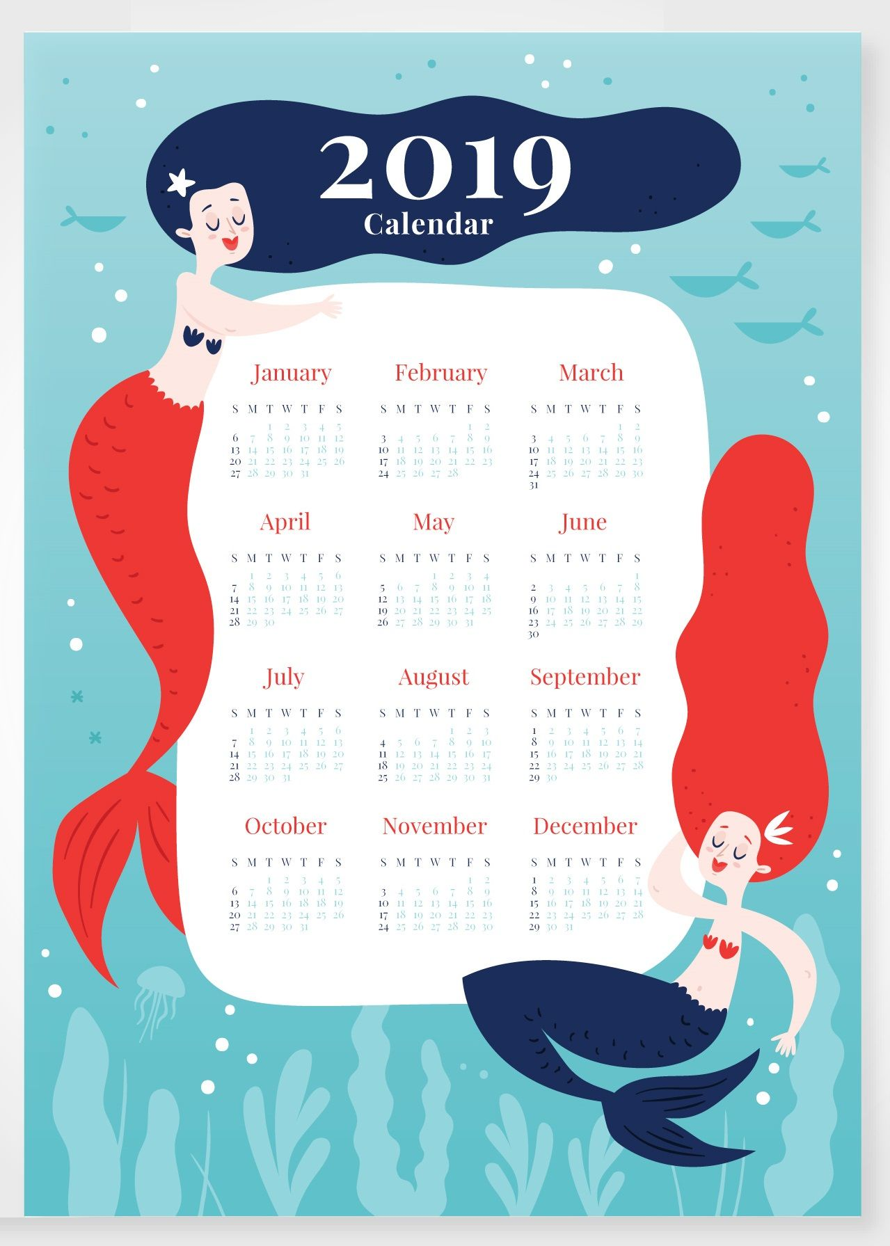 Latest 2019 Calendar Cute Design Free Printable Hd Formats For Desk