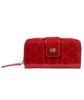 66e24a5787 HELLO KITTY TANGO RED PATENT EMBOSSED WALLET LOUNGEFLY OFFICIAL WEBSITE   40.00