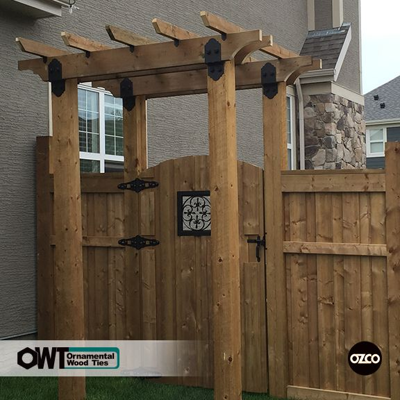 Gate – Board on Board Fence with Arbor and Decorative Scroll Accent ...