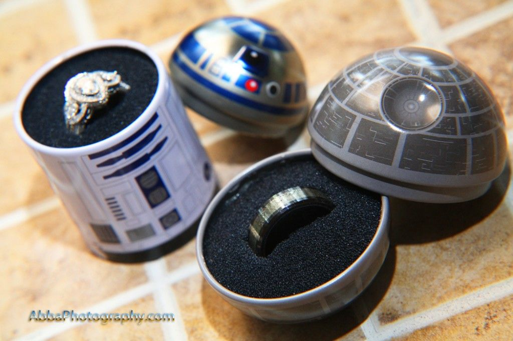 R2D2 Death Star wedding ring box Wedding Photography Details in