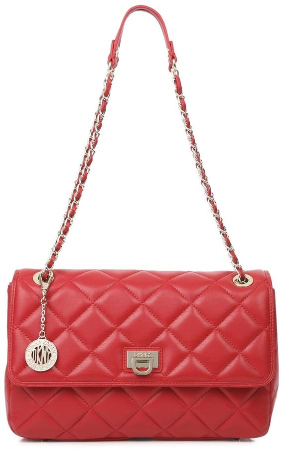 Dkny Ganesvoort Red Quilted Leather Shoulder Bag On Style Co Uk