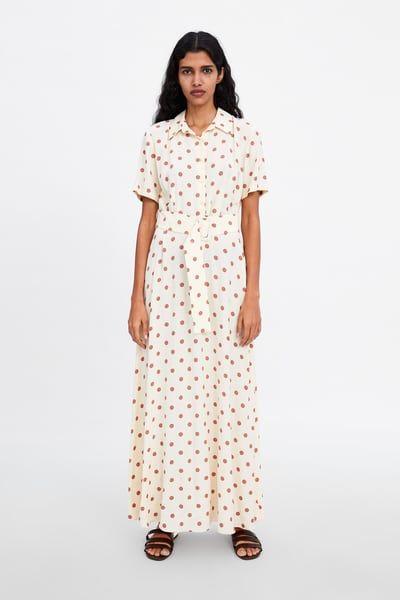 Robe Longue A Pois 2019 Tenues Mariages Dot Dress Dresses Collar Dress