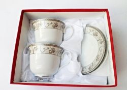 Elegancki Zestaw Kawowy 4 El Filizanki Srebrny Wzor Glasswar
