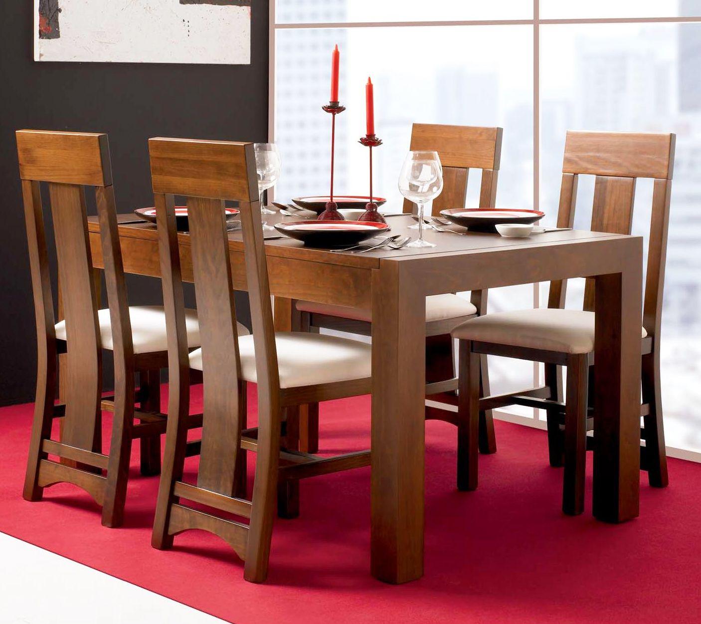 Mesa de comedor con tapa de madera y fija, realizada en ...