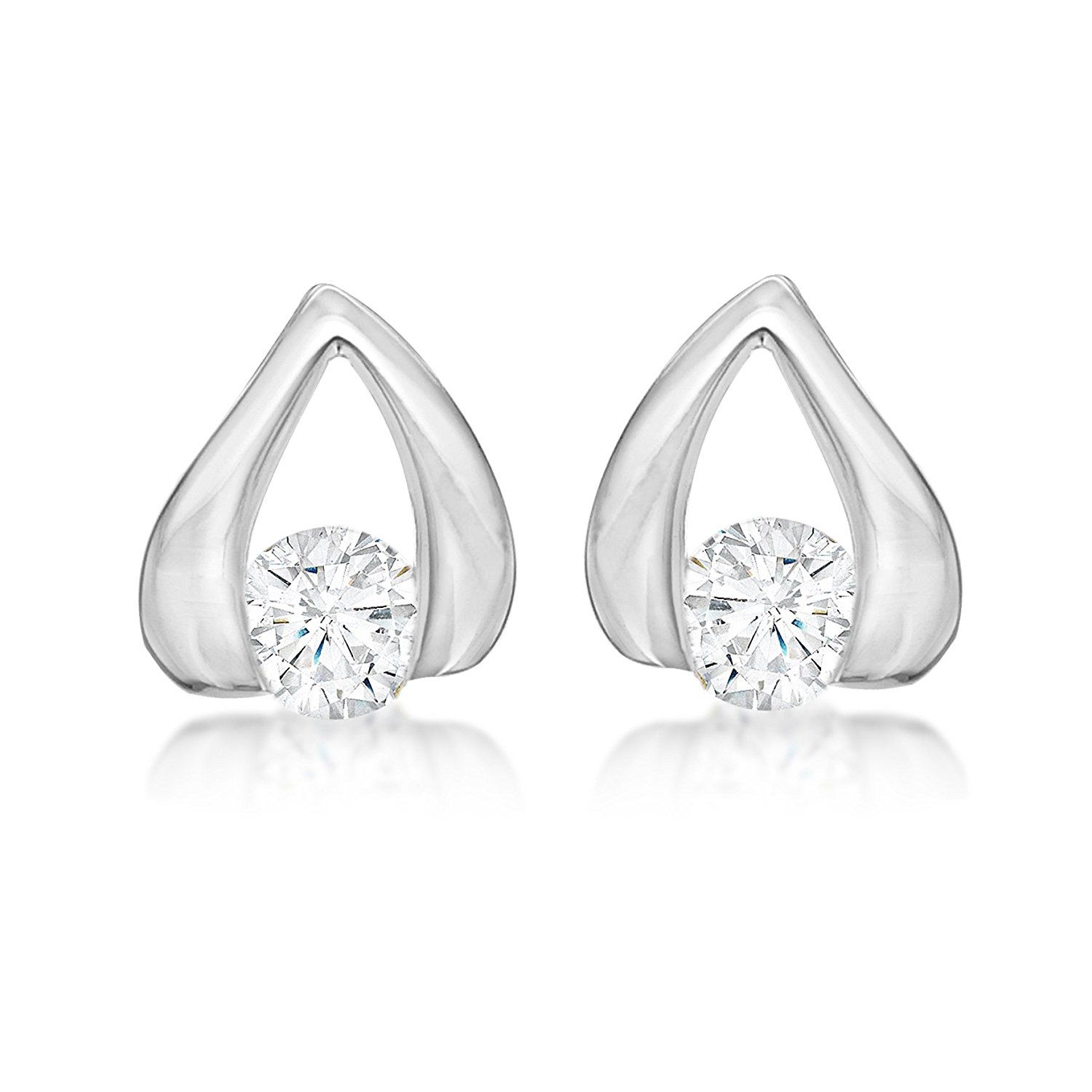 Tuscany Silver Sterling White Cubic Zirconia Stud Earrings Click Image To Read