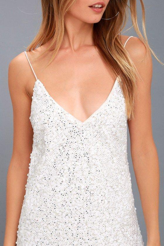 Force of Fashion White Backless Sequin Mini Dress #shortbacklessdress