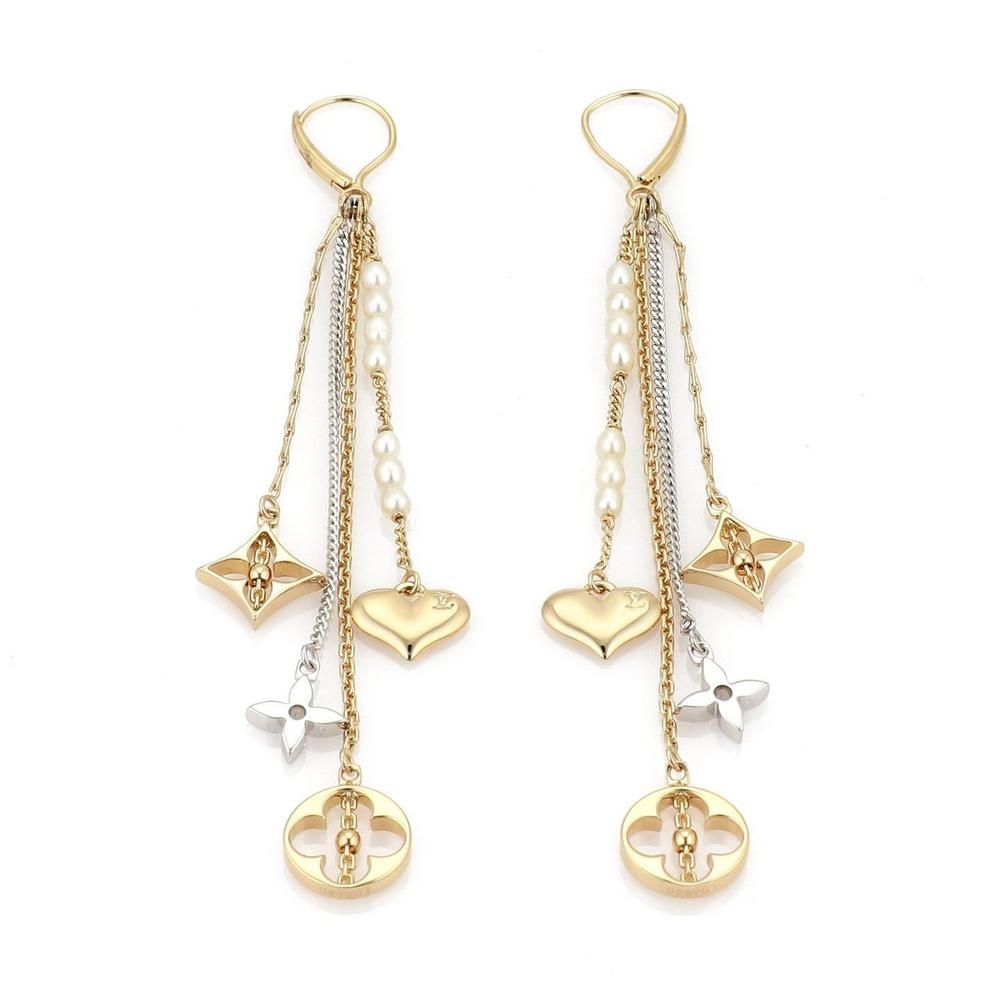 32db3ce8119 Louis Vuitton Monogram 18k Two Tone Gold Pearls 4 Strand Dangle Earrings  (eBay Link)