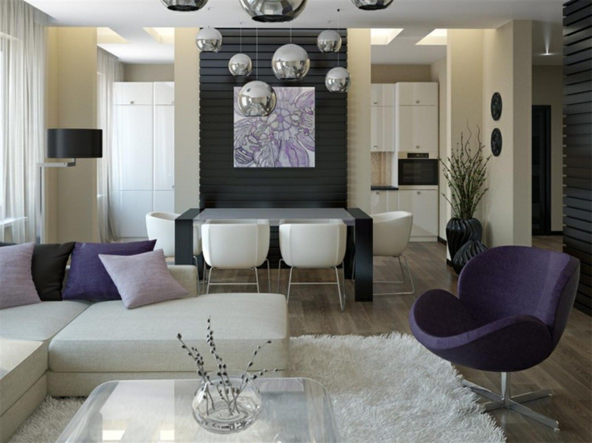 How To Decorate A Living Room And Dining Room Combination Beauteous Living Room Purple Armchair For Modern Living Room And Dining Review