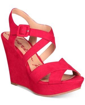 Platform wedge sandals, Red wedge sandals