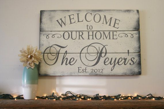 Custom Wood Sign Welcome To Our Home Wood Sign Pallet Sign Etsy Custom Wood Signs Wood Pallet Signs Wood Signs For Home